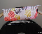 Cute NEW DESIGN Glitz Garden and Coral Chevron REVERSIBLE Car Seat Handle Arm Pad with Hand Grip