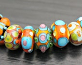 Set of Happy Handmade Artisan Lampwork Glass Beads in Turquoise Orange and More