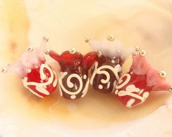 4 Handmade Lampwork Flower Beads