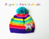 Knit Rainbow Mouse Hat, Made in the USA, Unisex version is doable, Girls clothing, kids  mouse hat, girls accessories, baby shower gifts