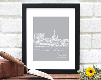 Portland, Maine Engagement Gift, Personalized Anniversary Art, City Skyline Art Print, Portland Bride, Maine Wedding, New England Art, Decor