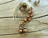 Sterling Silver Hoops with wire wrapped copper beads and dangles, sterling silver and antiqued copper hoop earrings