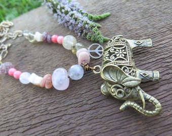 Sale Long Boho Pastel Beaded Gemstone Necklace - Elephant Pendant & Peace Sign -  Pink Coral Brass Chain Crystal Summer Daze - Hippy Jewelry