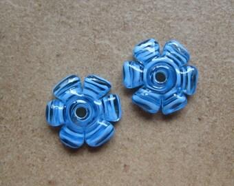 Lampwork Beads - SueBeads - Disc Beads - Azure Cut Disc Flower Bead Pair - Handmade Lampwork Beads - SRA M67