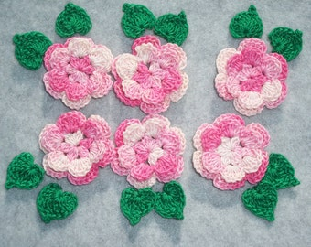 6 handmade pink cotton thread crochet applique roses with leaves -- 2487