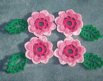 4 handmade pink thread crochet applique flowers with leaves  --2356