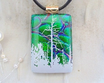 Dichroic Pendant, Glass Jewelry, Tree, Necklace Included, Green, A3