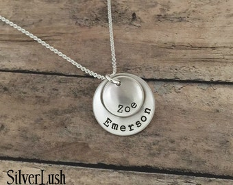 Custom Sterling Silver Mothers Necklace with Two Names