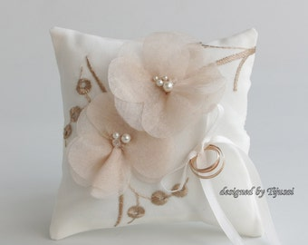 Wedding ring bearer pillow with small flowers and embroiderings-ring bearer, ring cushion, wedding pillow, ready to ship