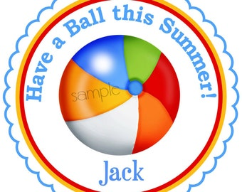 Pool party stickers, Beach Ball stickers, Summer party favors, Beach favor labels, Set of 12