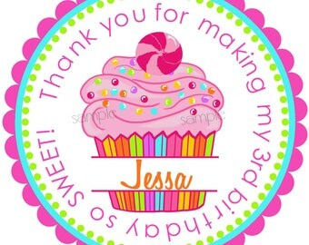 Cupcake Stickers, Candy Surprise Cupcake, Personalized stickers, Labels, Seals, Birthday, Candy, Favor labels