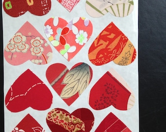 Reserved for Sarah: Silk fabric stickers - Make your own cards -  Kimono silk hearts - 3 sheets of  12 hearts each