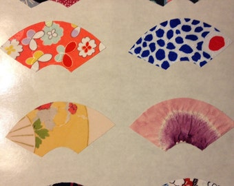 Silk fabric stickers - Make your own cards -  Kimono silk hearts - - 12 hearts