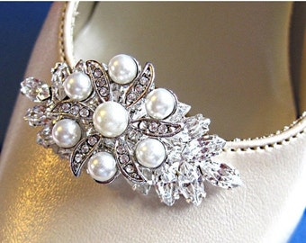 Sale Wedding Shoe Clips Pearl bridal Shoe jewelry wedding clips for shoes silver bridal shoe clips crystal vintage style Glamorous collectio