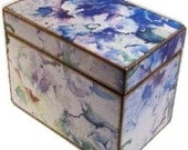 Decoupaged Recipe Box, Wedding Guest Book Box, Holds 4x6 Cards, Storage and Organization, Large Box, Watercolor Hydrangeas, MADE TO ORDER