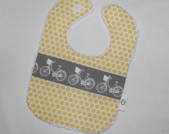 Gray and Yellow Whimsical Wheels and Dots Chenille Bib
