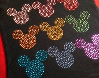 In Stock and Ready to Ship CHILD SIZE SMALL (7/8) - Mickey head multi color rhinestud tee by 1286 Kids (formerly Daisy Creek Designs)