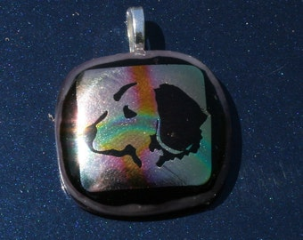 You will love this DICHROIC Fused Glass Dog Pendant -- Artglass By YM