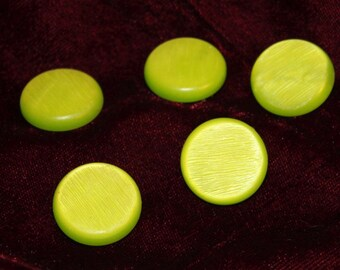 set of five lime green vintage buttons