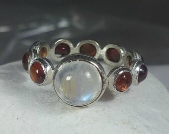 SALE THIRTY PERCENT, Citrine and Moonstone eternity ring,  sterling silver  gemstone band, Size 5.75  , November birthstone