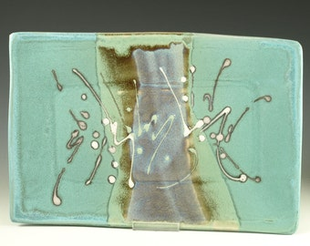 Rectangular Serving tray in Turquoise - handmade stoneware pottery