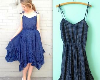 Polka Dot Prairie Dress // 1980's Dancing Dress // Layers and Ruffles // Sleeveless // DBA LA // Women's Medium or Large