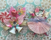Sweet Kitty Angels Holiday Corsages.. Handmade+Ooak