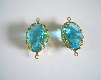 Vintage Glass Cabochon Connector Blue Topaz