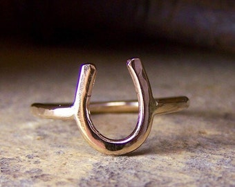 Gold Horseshoe Ring - Equestrian Jewelry Lucky charm ring gift for her