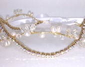Pearl Briar Gold Bridal Hair Vine Tiara Head Band Headband Clear AB Rainbow Rhinestone Wrap Circlet Crown Wreath Wedding Hairvine Jewelry