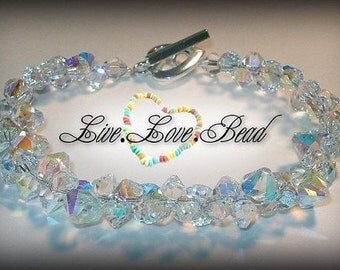 Swarovski Crystal Bracelet Bridal Jewelry Bridesmaids Gift Beaded Clear Ab Austrian Crystal Crystallized Elements