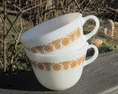 Two Vintage Pyrex Tea Cups - Butterfly Gold
