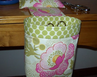 Scrap Caddy // Thread Catcher // With Rubberized Gripper Strip // Amy Butler Fresh Poppies
