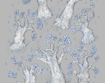 Oak Trees Winter - Print