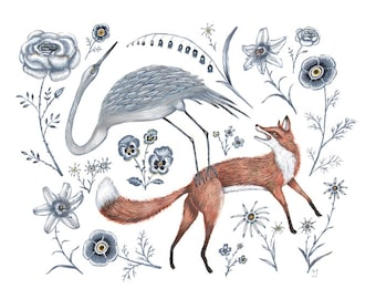 Fox and Crane - Original Painting