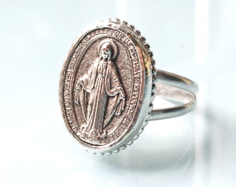 Miraculous Medal - Sterling Silver Ring - Blessed Virgin Mary Ring - Holy Mary Mother of God
