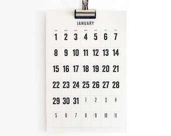 2017 Wall Calendar, 11x17, Large Dates, Full Moon Stickers, Simple, Minimal, limited edition