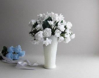 Vintage Milk Glass Vase White Flower Vase Wedding Vase Glass Vase