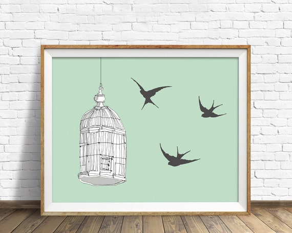 "sparrows, bird cage, drawing, illustration, art print, large art, large wall art, colorful modern, modern art, modern print - ""Caged Bird"""