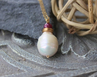 Baroque Pearl Necklace,  Pearl and Ruby Pendant, Baroque Pearl pendant, Christmas gift for her, wrapped,  Bohemian