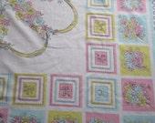 "Pastel Pretty 1950s 50s Card Tablecloth Topper 44"" x 46"" Tea Luncheon"