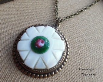 Georgetta, Antique Mother of Pearl Button with Vintage Guilloche Enamel Cameo