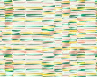 Plentiful Earth Citrine - Meadow - Art Gallery Fabrics - Leah Duncan - MW-80022 - Stripes Hand drawn