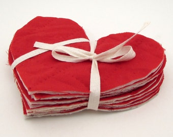 10 Cutter Quilt Hearts - Solid Red - Vintage Quilt Hearts - Shabby - Primitive crafting supplies - heart appliques - valentine