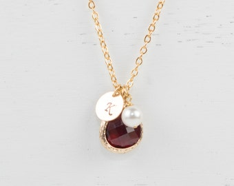 January Birthstone Personalized Gold Necklace, Garnet Gold Personalized Necklace, January Birthday Jewelry, Personalized Gold Necklace #877