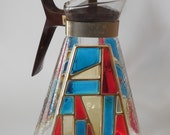 Vintage Coffee Pot Mid Century Modern Stained Glass Look