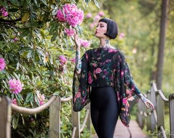 Black flowers and birds chiffon Kimono sleeve Top