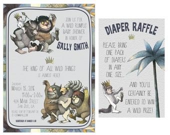 Where the Wild Things Are Baby Shower Invitation - Birthday Party Invite - Diaper Raffle - Wild Rumpus, Wild Things - Printed / Download