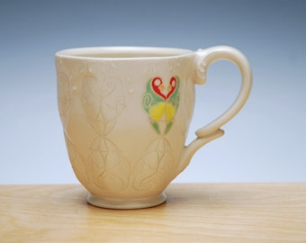 Lovebirds coffee mug in Ivory w. colorized detail, Victorian modern stamped cup