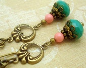 Turquoise Glass & Coral Swarovski Pearl Vintage Inspired, Neo Victorian Antiqued Brass Earrings, Boho Chic, Shabby